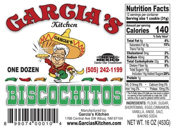 garcias biscochitos label