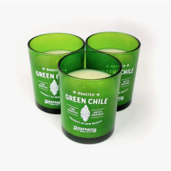 three green chile candles