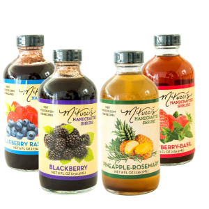 four jars of mtucci's cockatil shrub mix